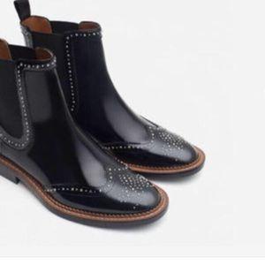 Zara Micro Studded Leather Flat Chelsea Boots Sz 7